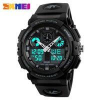 2016 New SKMEI Luxury Brand Men Military Sports Fashion Casual Watches Dual Time Digital LED Quartz