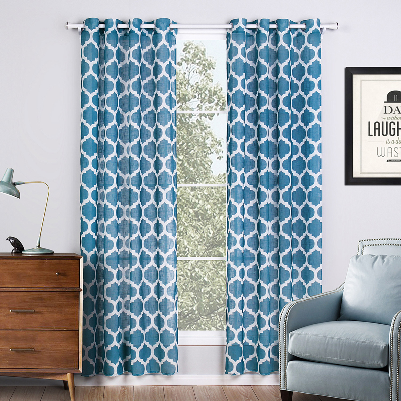 Blue Window Curtains Printed Geometric Curtains For