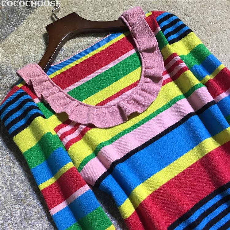 b9add35c0b2 2019 Women Fashion Cute Rainbow Striped Lurex Wool Knit Sweater ...