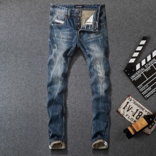 Fashion Vintage Designer Men Jeans Dark Blue Straight Fit Ripped Jeans Men Denim Buttons Pants 100% Cotton Classical Jeans homme