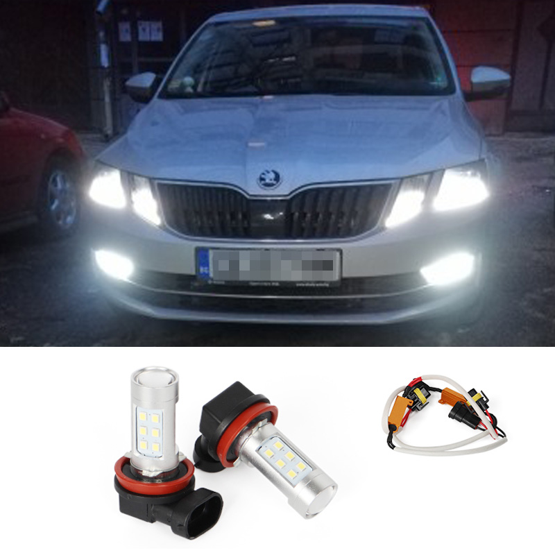 2X H8 H11 Car Driving Fog Light Lamp Bulb Canbus Decoders No Error For Skoda Octavia