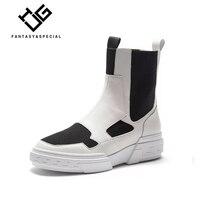 МГС женские туфли на платформе с высоким берцем модная повседневная обувь женские Натуральная кожа 2018 осень Женская обувь на плоской подош