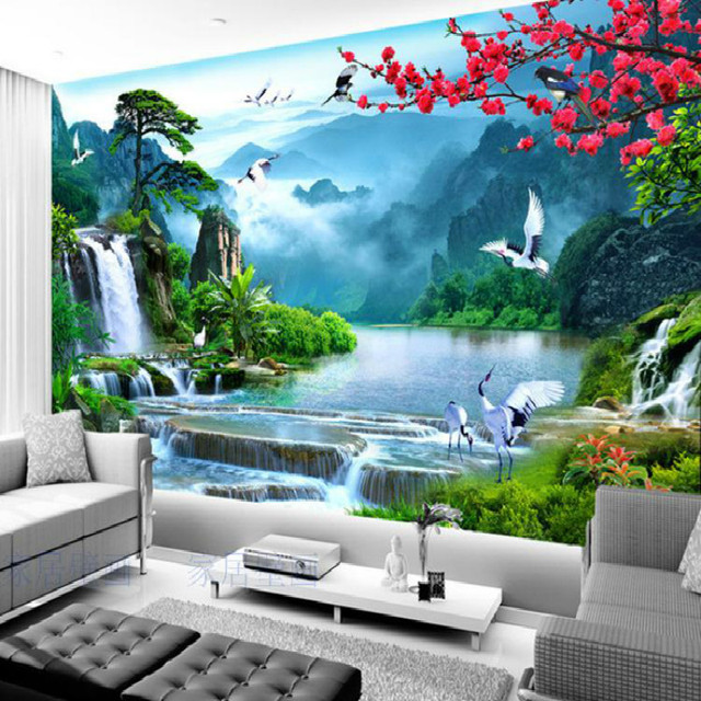 Customized Large Mural Welcoming Song Living Room TV Backdrop Wallpaper Bedroom Making Money Flowing Landscape
