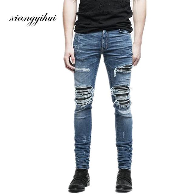 94e8ffb599f59 Justin Bieber Diseñador Hombres rodilla Parche De Cuero Pantalones Vaqueros  Rasgados Azul Negro Gris