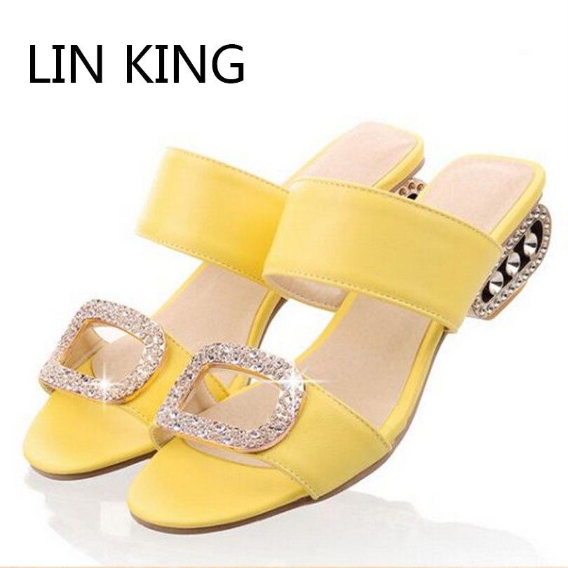 LIN KING New Big Size Summer Slippers Women Sandals Fashion Women Slides Lady Rhinestone Bohemia Shoes