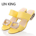 LIN KING New Big Size Summer Slippers Women Sandals Fashion Women Slides Lady Rhinestone Bohemia Shoes Square Heel Girl Slippers