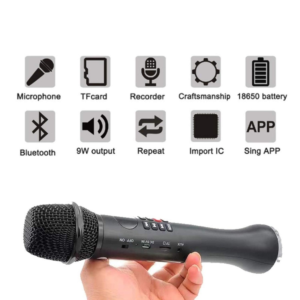 Bluetooth condenser microphone karaoke speaker wireless mic karaoke 9w TF card music play microphone for Android phone computer in Microphones from Consumer Electronics
