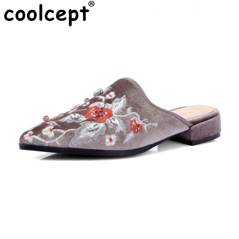 Coolcept Size 34-42 Sexy Lady Real Leather Flats Sandals Women Embroidery Slipper Pointed Toe Print Party Club Female Footwear coolcept sexy ladies real leather high heel sandals women platform slipper peep toe shoes sexy party party footwear size 34 39