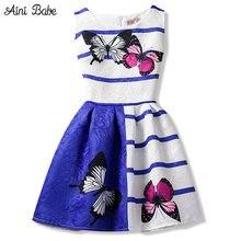 e39b7d543e7 2018 летнее платье для девочек Бабочка Цветочный принт для девочек-подростков  платья дизайнерская официальная Вечеринка