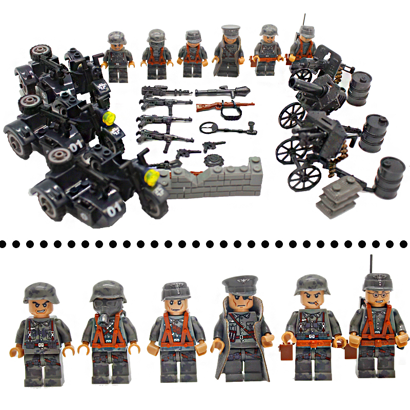 WW2 Action Figures with Weapons Guns Accessories Building Blocks Military Soldiers Bricks Set Compatible LegoINGlys Kids Toys 12pcs set children kids toys gift mini figures toys little pet animal cat dog lps action figures
