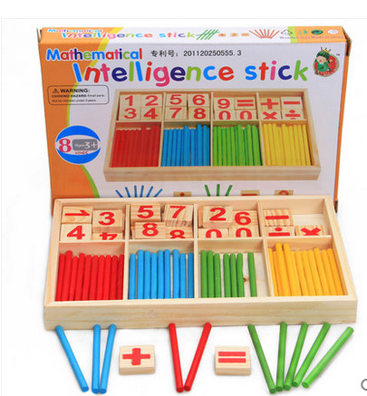 1SET Wooden Children Counting Stick Kindergarten Mathematics Teaching Aids Baby Early Education Digital Stick Toys Kids Gift