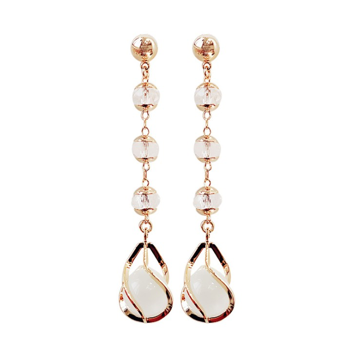 Temperament Long Crystal Opal Earrings Crystal From Austrian Personality 925 Silver Needle Earrings Simple Tassel Earrings