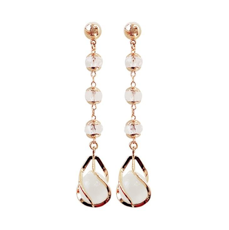 Temperament Long Crystal Opal Earrings Crystal From Swarovskis Personality 925 Silver Needle Earrings Simple Tassel Earrings