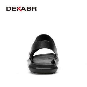 Image 3 - DEKABR 2021 nuovo arrivo moda estate vera pelle da spiaggia scarpe da uomo in pelle di alta qualità infradito sandali da uomo taglia 38 45