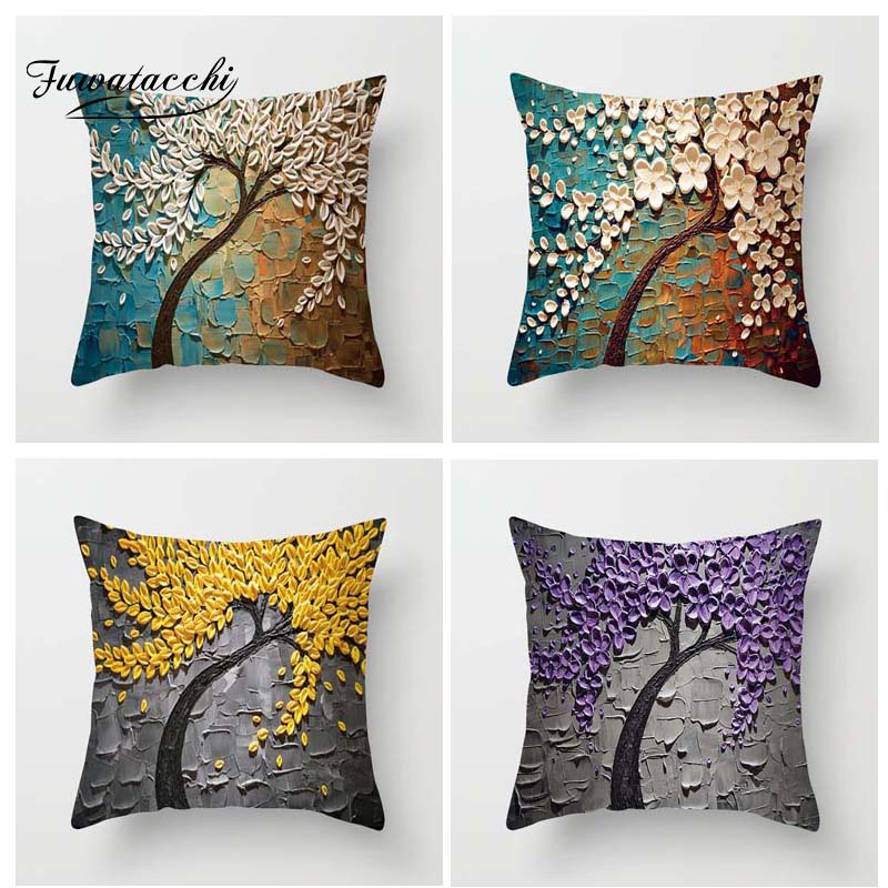 Fuwatacchi Multi Color Floral Printed Cushion Cover Flower On The Wall Pillow Cover Pink Red Decorative Pillowcase For Home Sofa