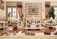 European Style 3 2 1 Seater Golden Fabric Sofa Set Living Room Furniture Luxury Modern Wooden