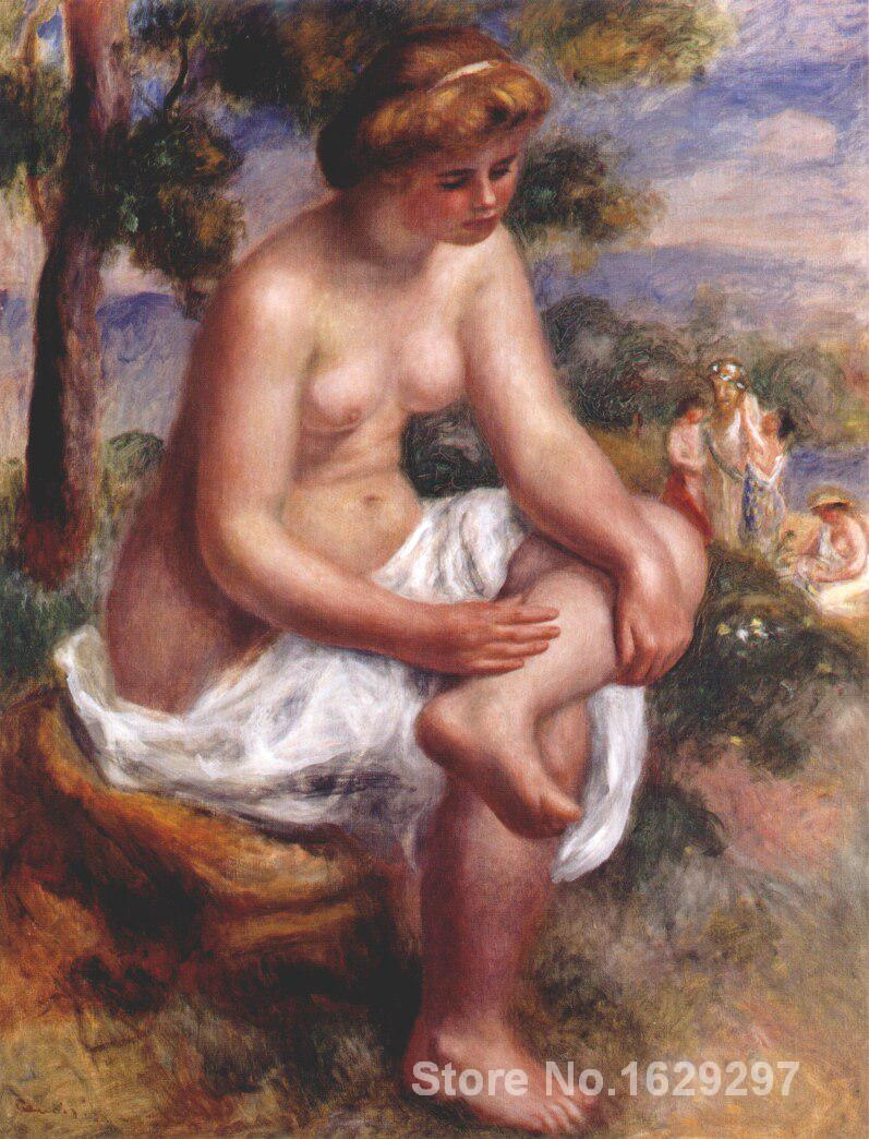 oil reproductions canvas <font><b>Nude</b></font> <font><b>Woman</b></font> <font><b>Seated</b></font> bather in a landscape by Pierre Auguste Renoir art Hand-painted High quality