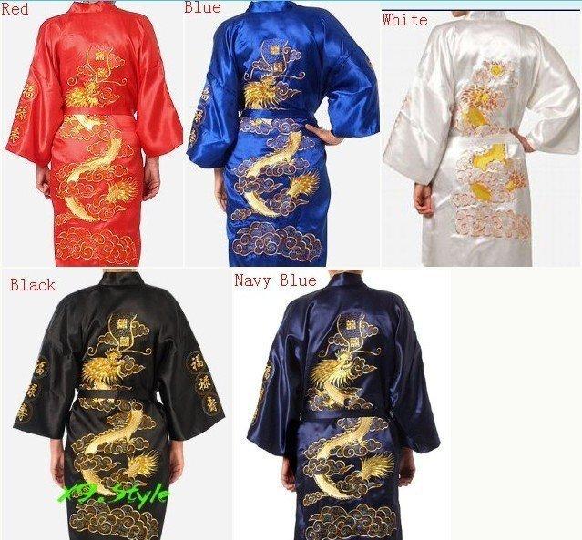 cb2ccd6af1 Chinese Men s Silk Satin Embroidery Robe Kimono Bath Gown Dragon S M L XL  XXL XXXL S0008