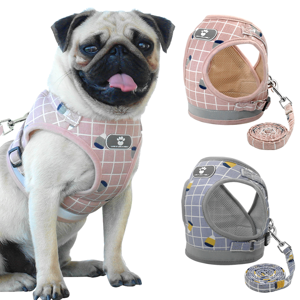 Mesh Puppy Pet Harness Small Dogs Cat Harness And Leash Reflective Adjustable Nylon Vest For Chihuahua Pug French Bulldog