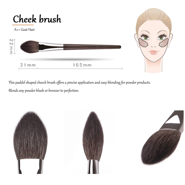MyDestiny Ebony-Series Cheek Brush - Tapered Precision Powder/Blush Face Brush 5