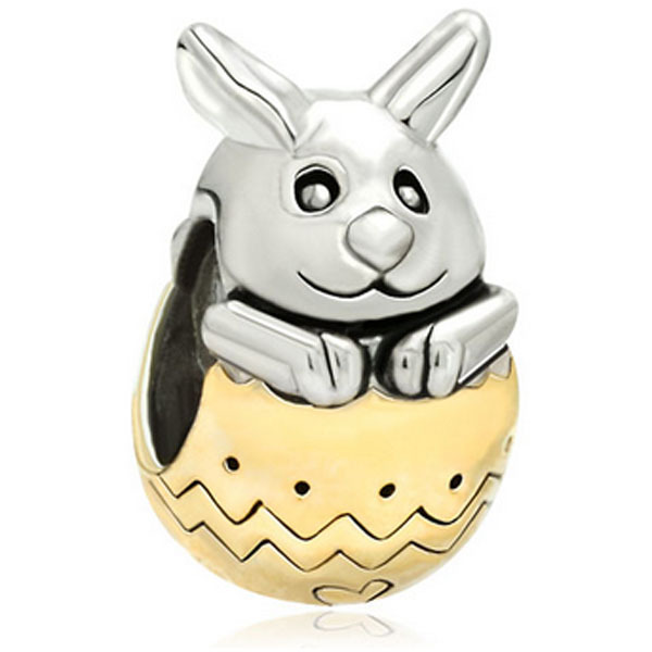 Beads for jewelry making Silver Tone Cute Rabbit Bunny Easter Bead Charm. fit Pandora charm bracelet
