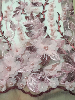 Green Pink Nigerian Wedding Lace Materials 3D Lace Fabric High Quality 2018 African Lace Fabric On Sale Beads Lace Fabric LCD950