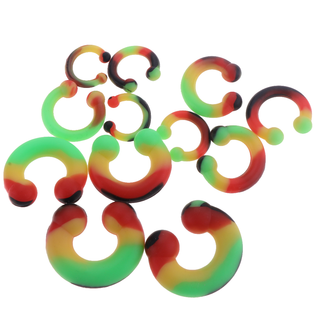 12 Pieces Colorful Silicone Circular Horseshoe Septum Nose Ear Rings Eyebrow Stud Tragus Helix Ring 3mm-10mm