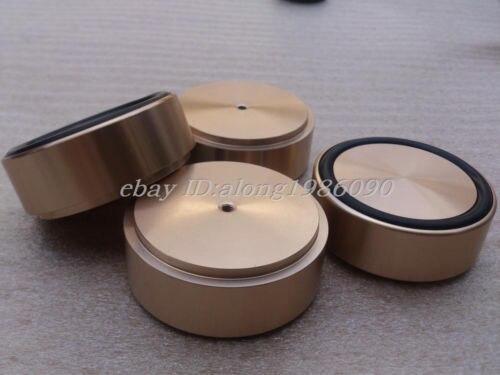 Sep_store neuf 4x (or) G58 pieds aluminium pour ampli/haut-parleur (avec anneau en caoutchouc) D: 58mm H: 22mm