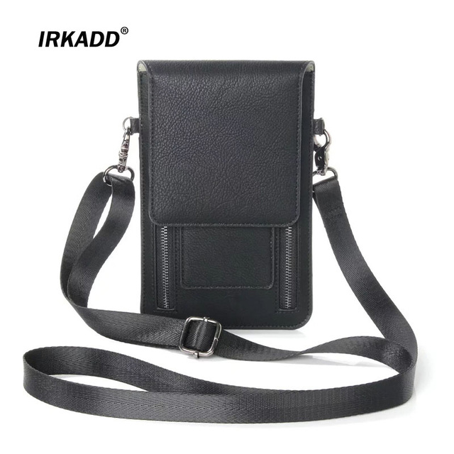 IRKADD Litchi Pattern Universal Shoulder Bag for iPhone6s 7 Plus Card Pocket Case for Samsung Galaxy S8Plus MEGA 6.3 Note5 Pouch