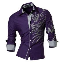 Jeansian Mens Fashion Dress Casual Shirts Button Down Long Sleeve Slim Fit Designer Z001 Purple