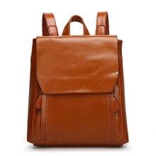 Женщины из натуральной кожи рюкзаки для женщин старинные школьные сумки для колледжа девушка сумка рюкзак mochila эсколар санторо