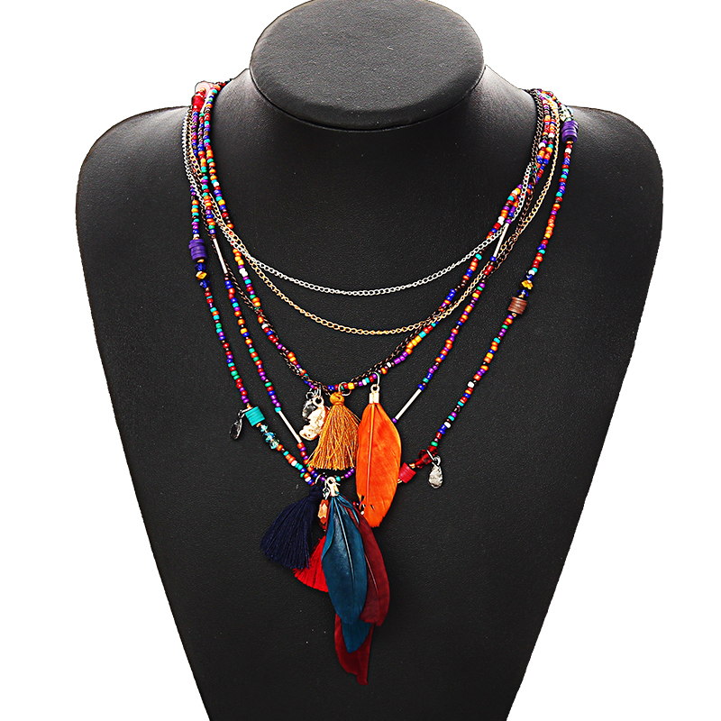 Multi-Color Feather Necklaces & Pendants Beads Chain Statemes
