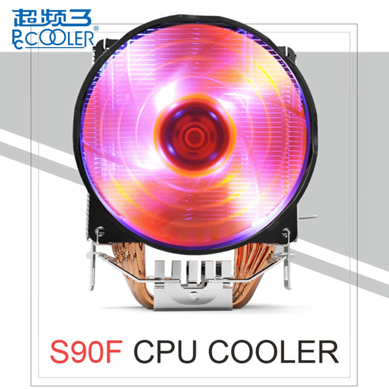 PCOOLER S90F 10cm 4 Pin PWM Cooling Fan 4 Copper Heat Pipes LED CPU Cooler Cooling Fan Heat Sink for Intel LGA775 For AMD AM2 pccooler donghai x5 4 pin cooling fan blue led copper computer case cpu cooler fans for intel lga 115x 775 1151 for amd 754