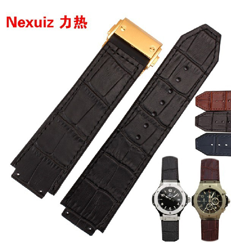 25*19mm High Quality straps Genuine Leather  WatchBand with folding  Deployment Buckle free shipping alligator leather watchband brand style straps bracelets wristwatches accessories with free buckle deployment 20mm 21mm 22mm new