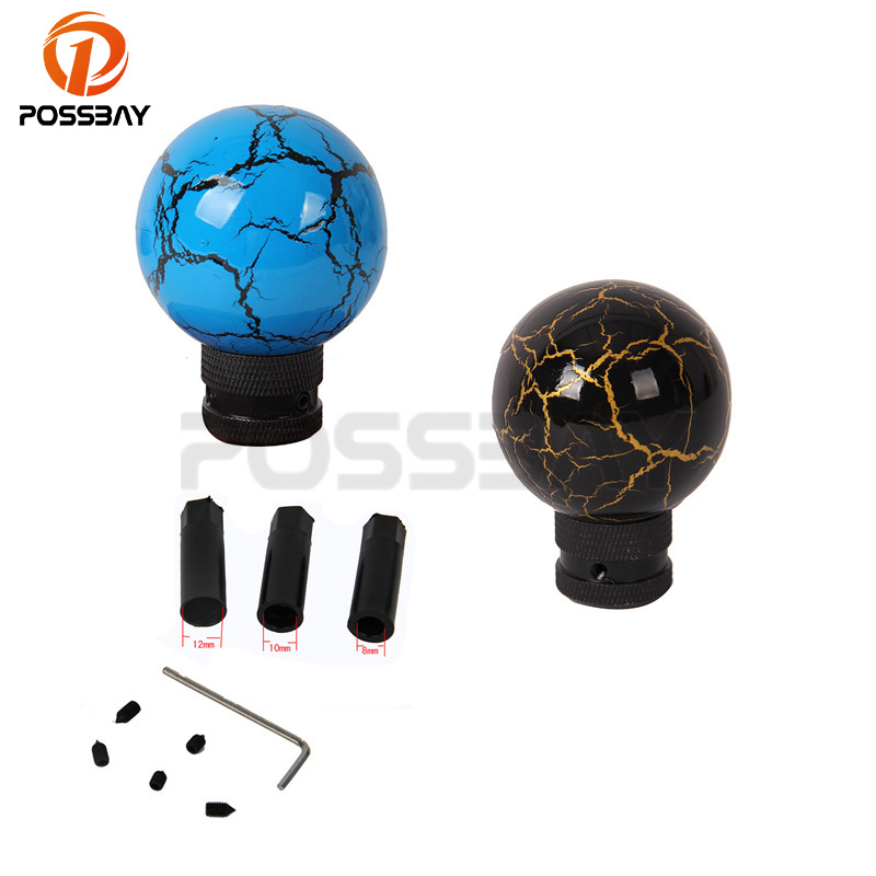 POSSBAY Manual Car Gear Shift Knob Resin Cover Shifter Shift Knob Anti-Theft Thunder Ball Gear Knob Black Blue