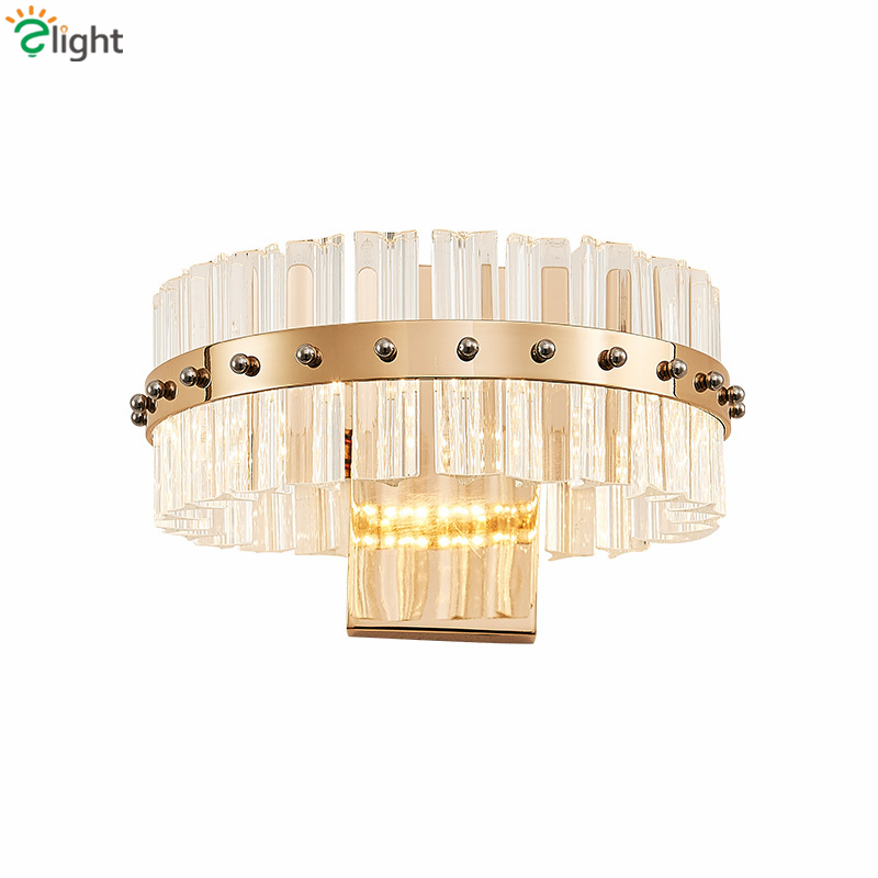 Lustre Modern Plate Gold Chrome Metal Led Wall Lamp Foyer Luxury K9 Crystal Luminarie Led Wall Lamp Indoor Lighting Lamparas k9 puppy gold