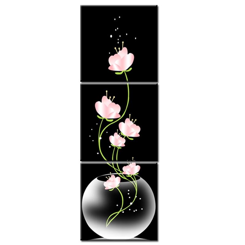 Top Sale Vase With Flowers Canvas Material 3 Pcs Porch