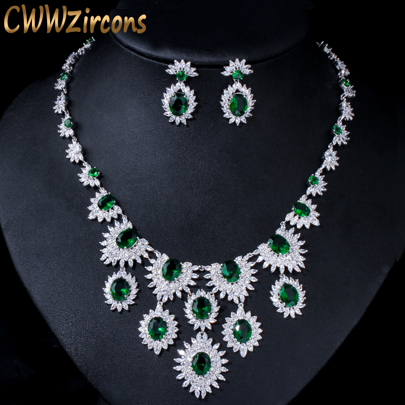 CWWZircons High Quality Cubic Zirconia Paved Big Flower Drop Wedding Necklace and Earring Luxury Green Bridal Jewelry Sets T318CWWZircons High Quality Cubic Zirconia Paved Big Flower Drop Wedding Necklace and Earring Luxury Green Bridal Jewelry Sets T318