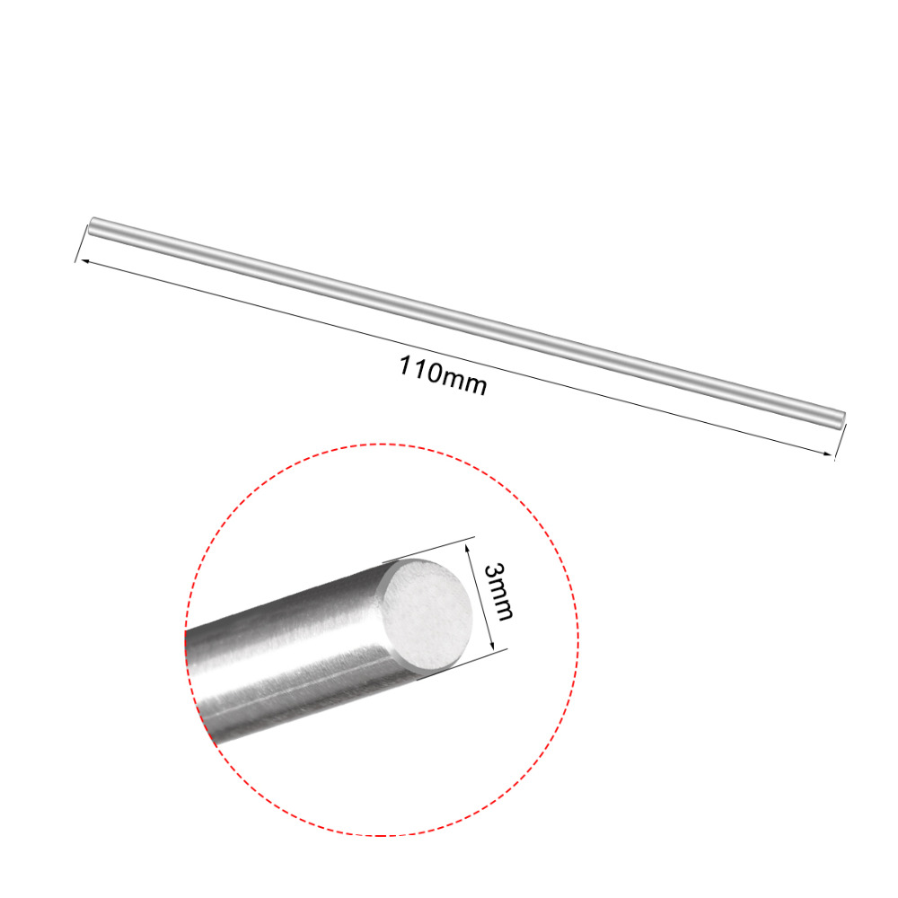Uxcell 5Pcs Stainless Steel 110mm/120mm/150mm/160mm/170mm/190mm Long 3mm Diameter Shaft Round Rod For DIY Toy RC Car Model Part