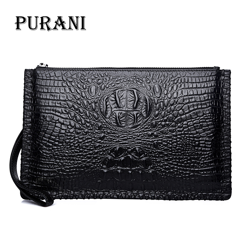 PURANI Genuine Leather Men Wallets New Male Purse Zipper Clutch Bag Men's Fashion Long Wallet Crocodile Pattern Man Money Clip fasiqi crocodile leather wallet soft skin fashion man wallet long wallet multi card money clip hand bag male business leather