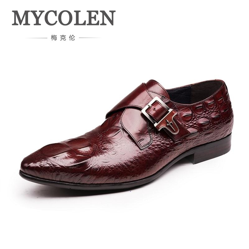 MYCOLEN Mens Pointed Toe Formal Italian Leather Shoes Luxury Brand Male Designer Buckle Elegant Famous Retro Footwear Man Shoes