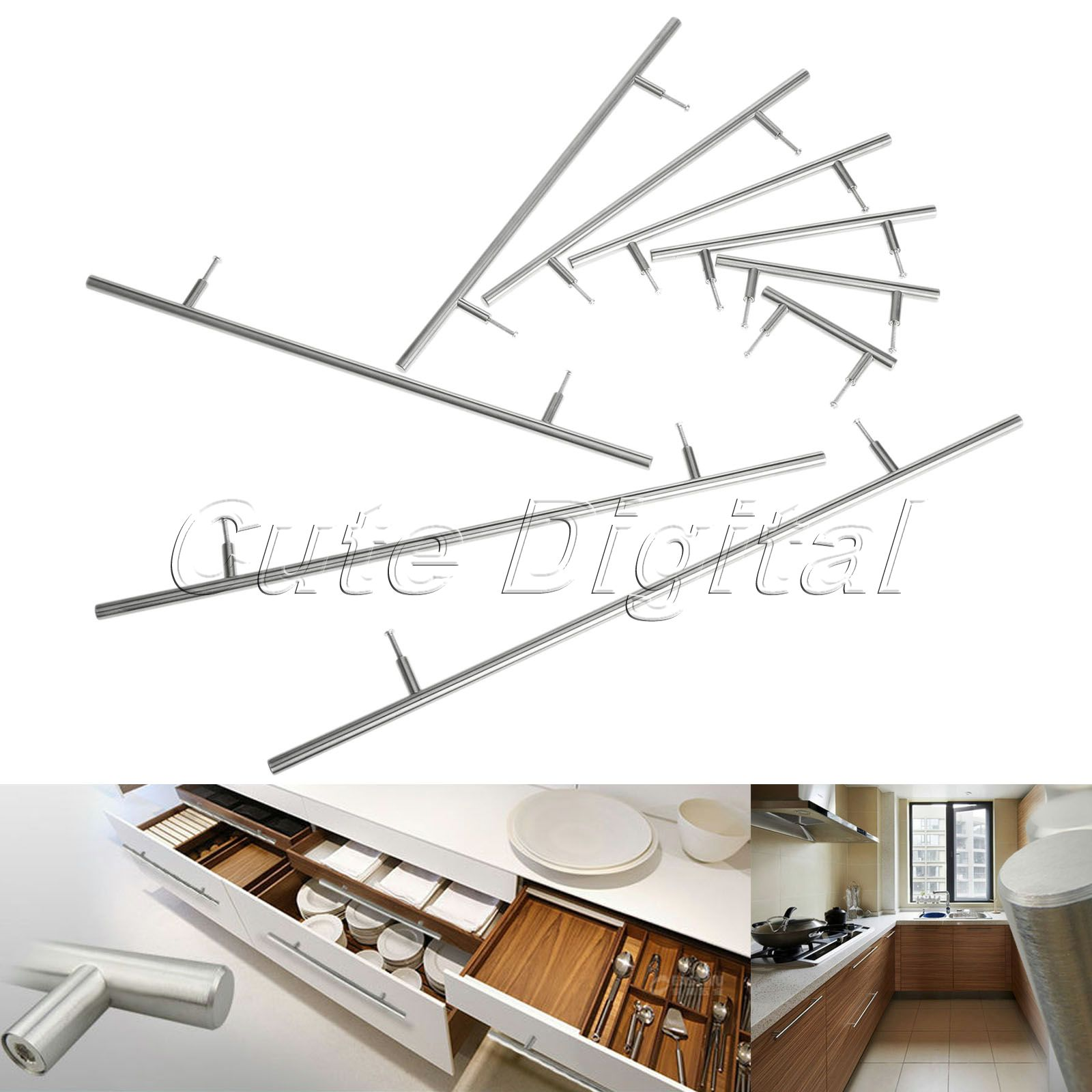10mm Stainless Steel T Bar Kitchen Handles Cabinet Knobs and Handles for Furniture Drawer Cupboard Handle Hole Center 64mm~320mm 10pcs kitchen cabinet handles and knobs black furniture handle for kitchen cabinet drawer pull single hole 64mm 96mm 128mm