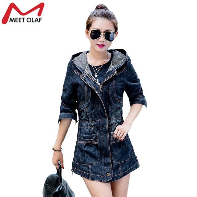 Mujeres Deinm Windebreaker Jean Capucha Escudo Plus Size Trench Coat Otoño Femenino Femininos mujer Trench Outwear Abrigos YL071
