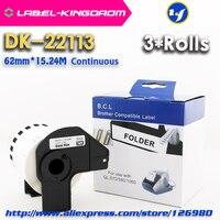 3ロールスロイス互換DK-22113ラベル62ミリメートル* 15.24メートル連続ブラザーラベルプリンタハーフ透明材料