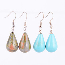15 Colors Classic Tear Water Drop Natural Stone Beads Crystal Pendant Dangler Dangle Earring Women Jewelry Decoration R082 кольцо mic 925 8 r082