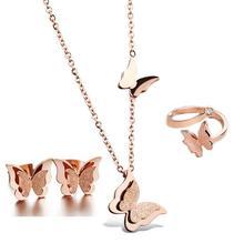 316L de acero inoxidable chapado en oro Rosa esmerilado mariposa encantos de la joyería set collar + aretes + anillo ajustable