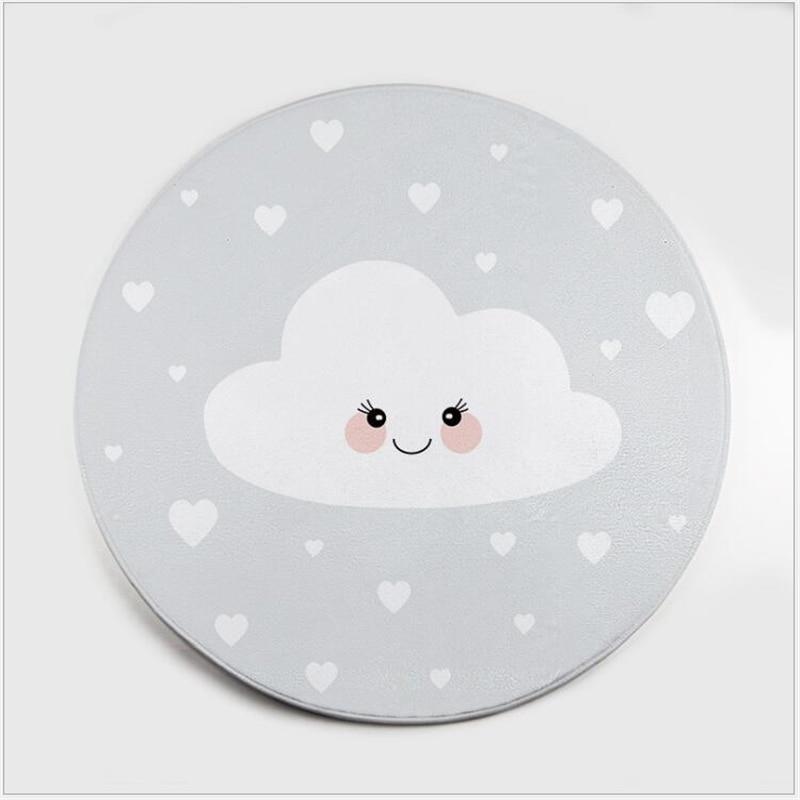 AOVOLL Cartoon Polar Bear Gray Cloud Cat Flamingo Carpet Bedroom Rugs Living Room Round Hanging Basket Floor Mat For Kids Room