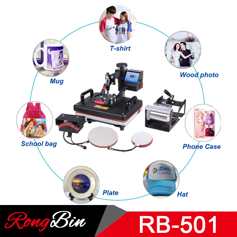 5 in 1 Swing Heat Press Machine Digital T-shirt Heat Transfer 12 x 15 Sublimation Transfer Machine for Mug Cap Hat Plate Print 1pc 6in1 30 38cm t shirt swing away heat press machine shaking head heat transfer sublimation machine