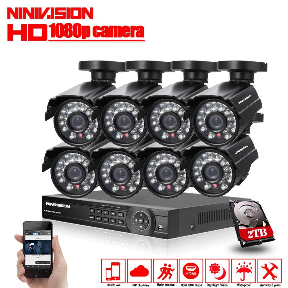 1080 p 8CH CCTV Système de Sécurité 8 canal HDMI AHD NVR DVR HD 2.0MP en plein air intérieur Caméra kit Vidéo Surveillance système 2 tb HDD