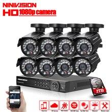 1080 P 8CH CCTV системы безопасности 8 каналов HDMI AHD NVR DVR HD 2.0MP Крытый камера комплект товары теле и видеонаблюдения 2 ТБ HDD